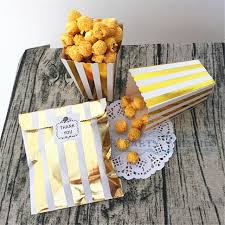 Gold Foil Striped Paper Cookie Bag