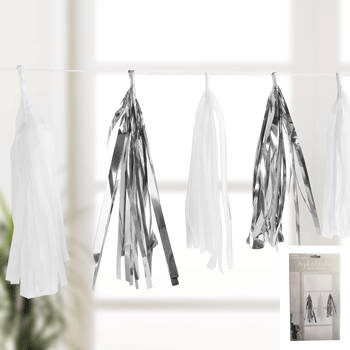 Silver and white paper tassel garland