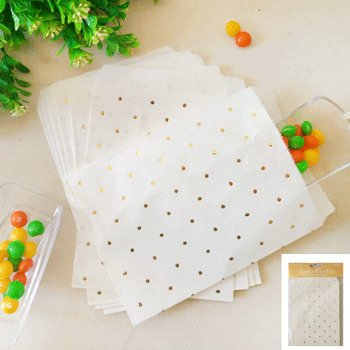 Gold Foil Dot Paper Treat Bags