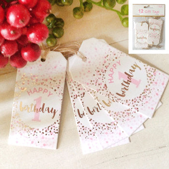 Pink or Blue 1st Birthday Gift Tags