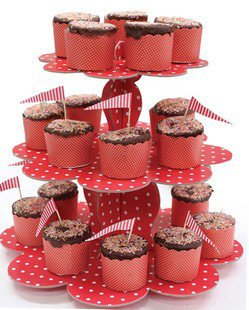 Red Polka dot 3 tier cupcake stand