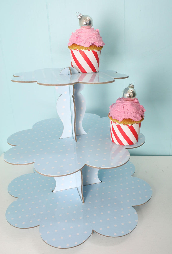 3 tier Blue and White Cupcake Stand