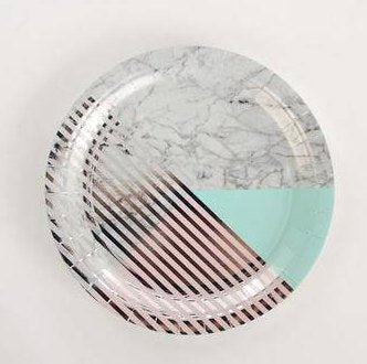 Mint and Silver Marble Plates