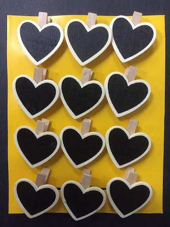 Heart Chalkboards on pegs