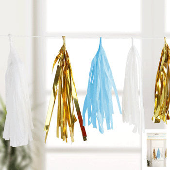 Blue, gold and white tissue paper garland