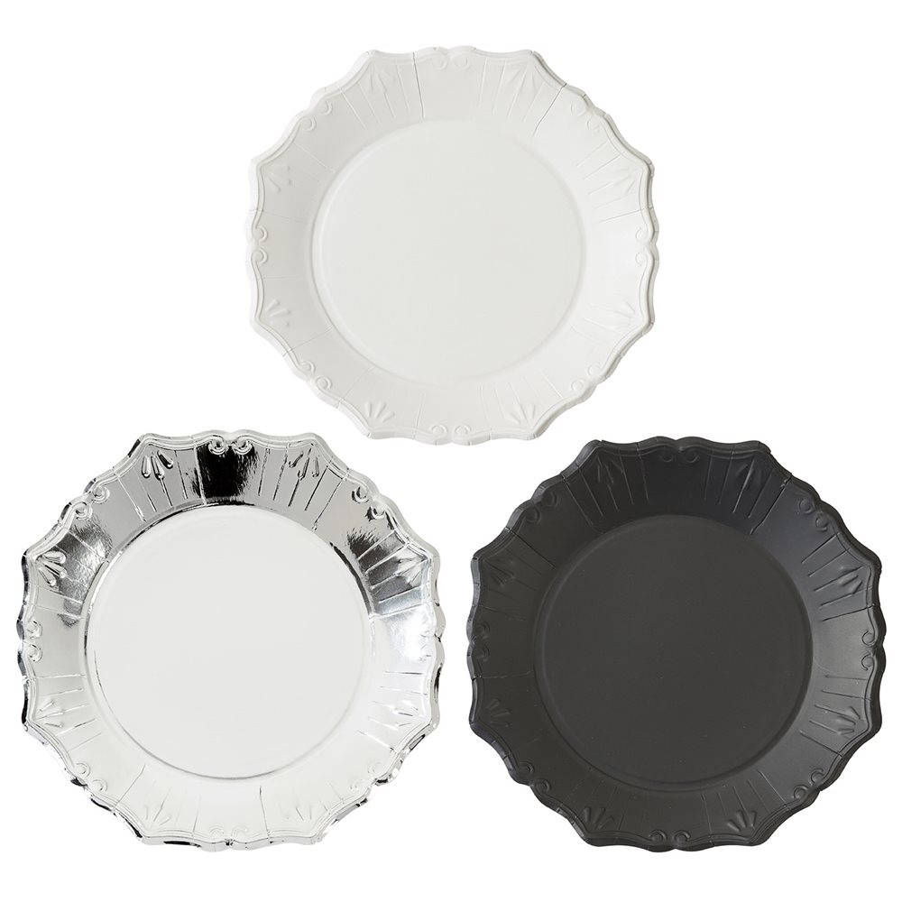 Talking Tables Silver, Black and White Party Porcelain Plates