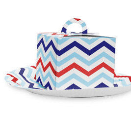 Blue and red cupcake boxes