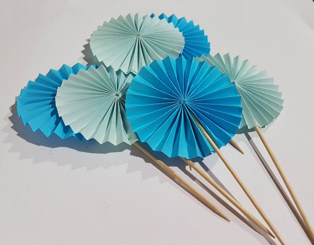 Blue fan cake toppers