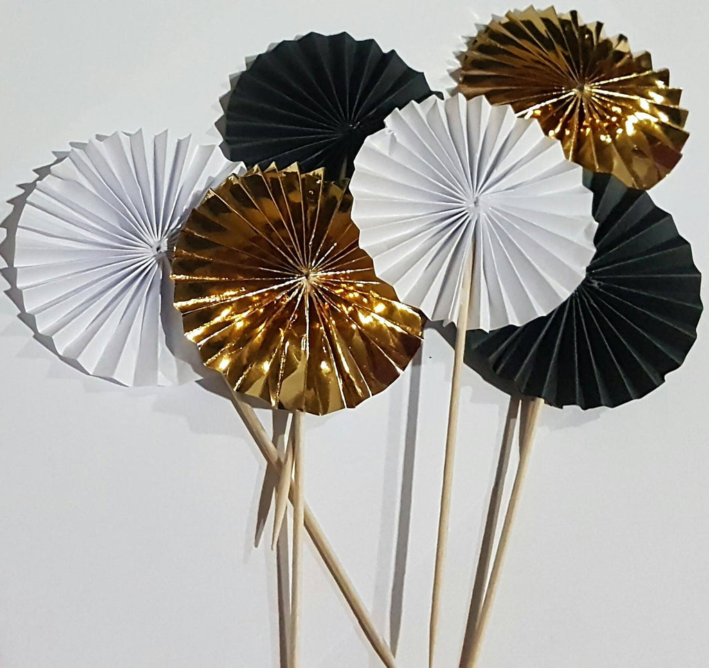 Gold fan cake toppers