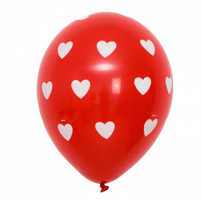 Red and White Heart Balloons