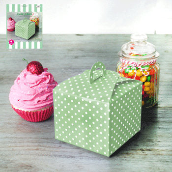 Mint and White Cupcake Boxes, 4 pack
