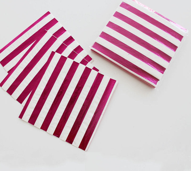 Hot Pink Metallic Stripe Napkins