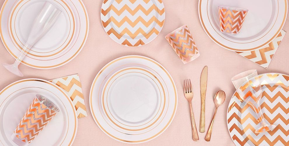 Rose Gold Chevron Plastic Plates (reuseable)
