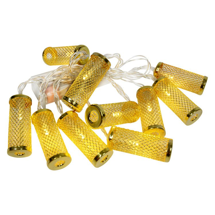 Gold Cylinder Cage String Lights