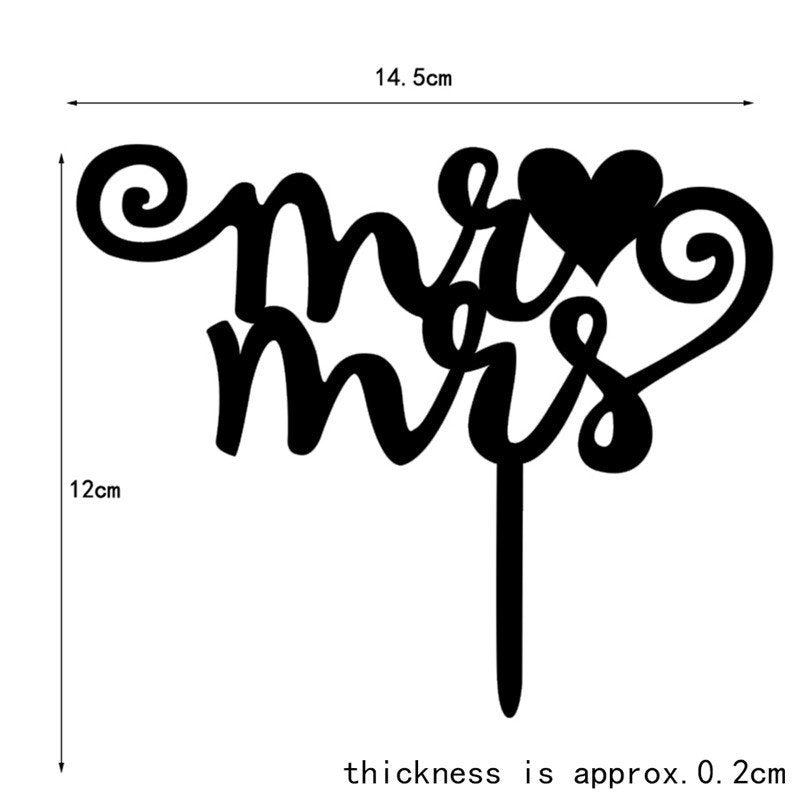 Mr and Mrs Cake acrylic cake topper