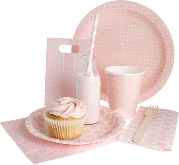 Pink and White Polka Dot Plates