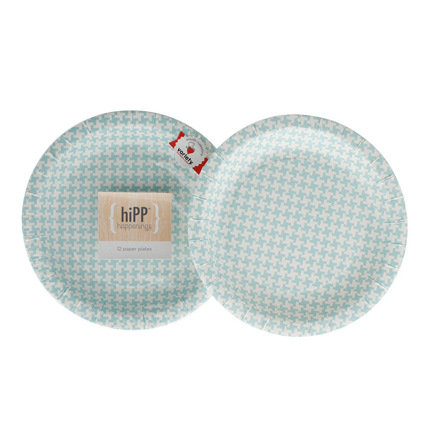 Hipp Blue Houndstooth Paper Plates