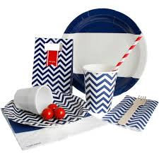 Hipp Navy Blue and White Striped Paper Plates