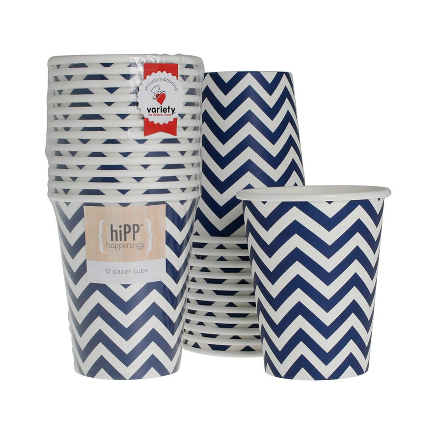 Navy Chevron Paper Cups