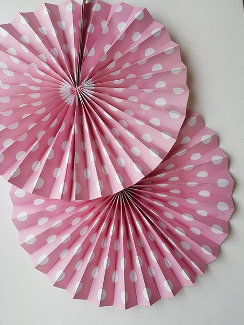 Pink and White Polka dot Fans