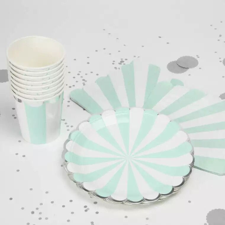 Mint and White Striped Paper Party Pack