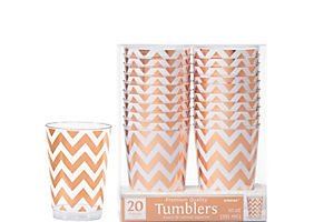 Rose Gold Chevron Reusable Cups