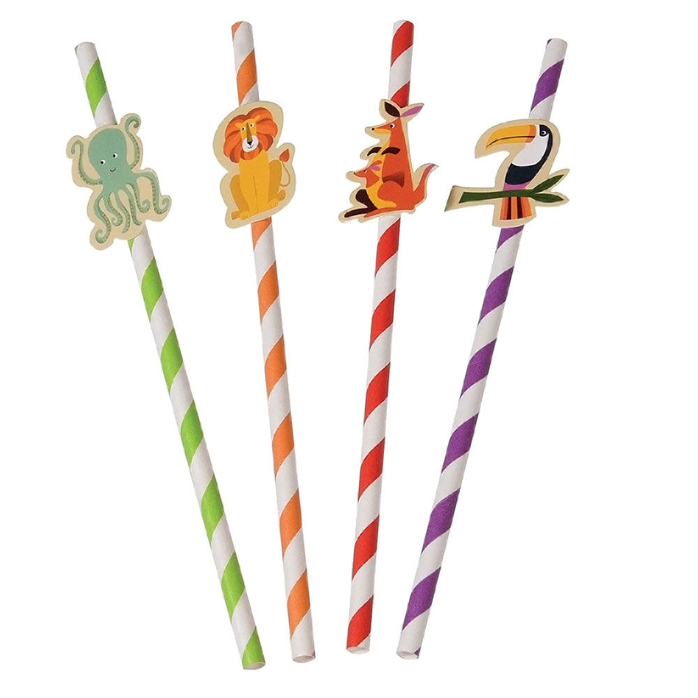 Straws with Animal Toppers