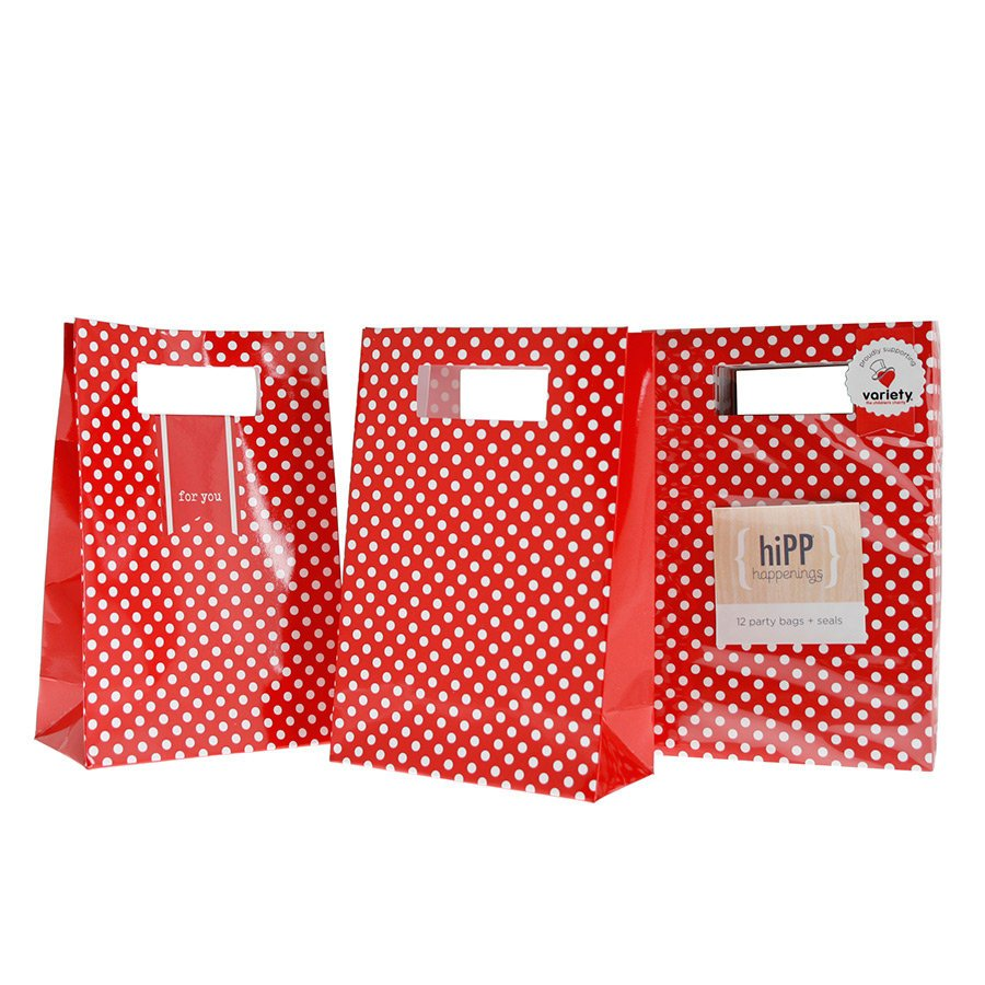 Red and White Polka Dot Loot Bags