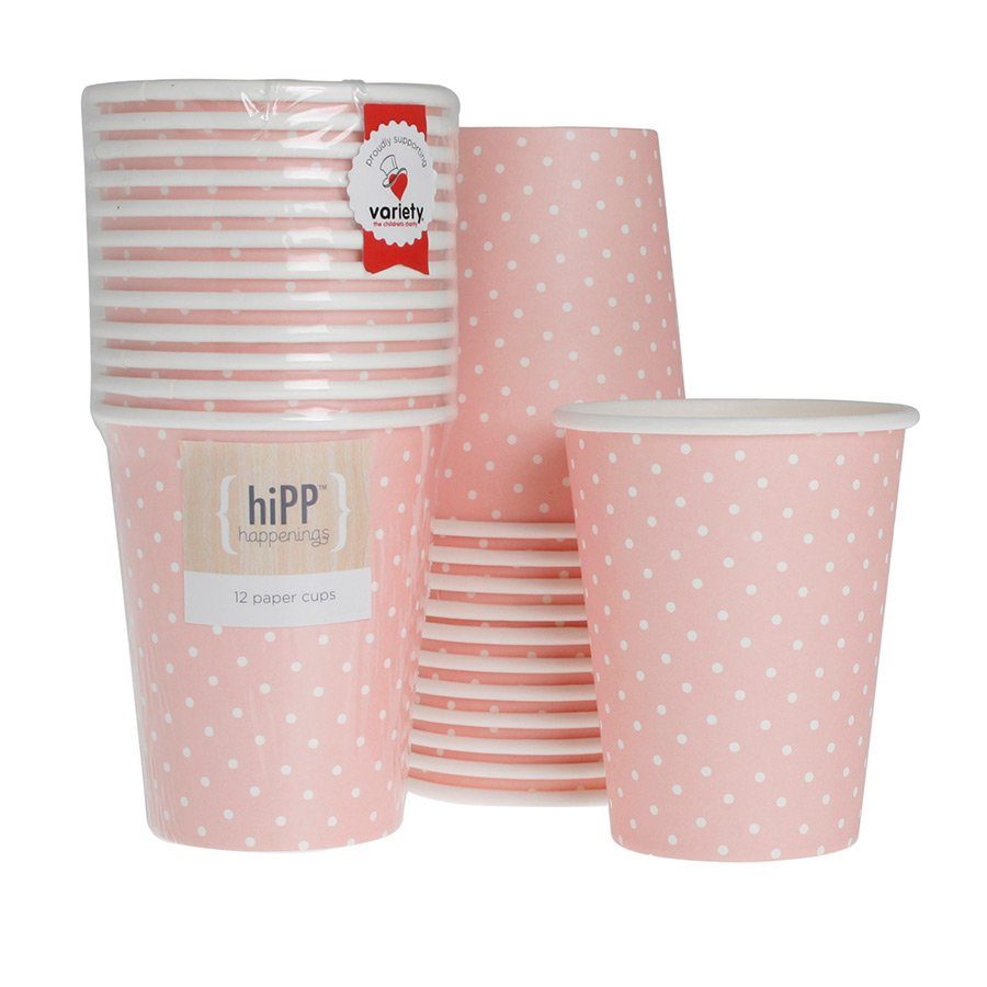 Pink and White Polka Dot Cups