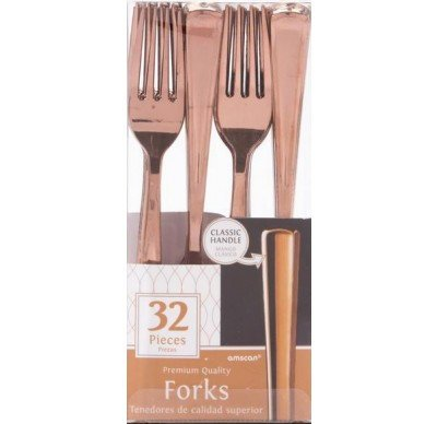 Rose Gold Forks, pack of 32