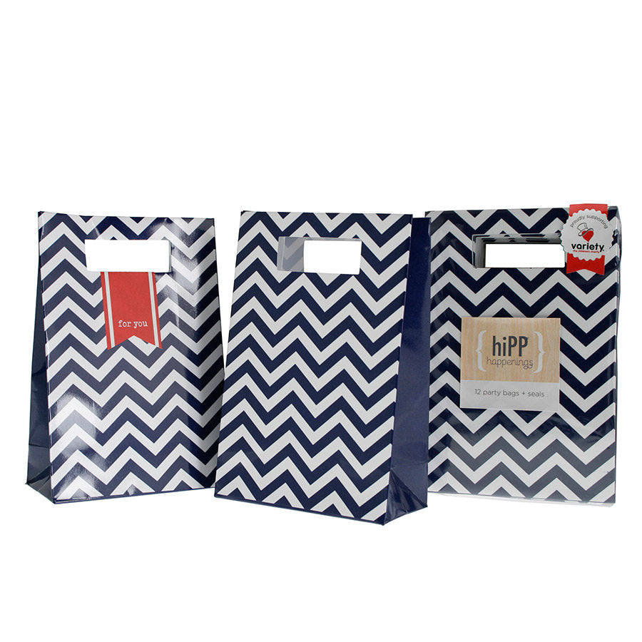 Hipp Navy Chevron Party Bags