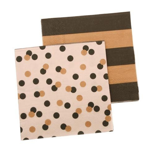 Black and Gold Striped and Spot Napkins