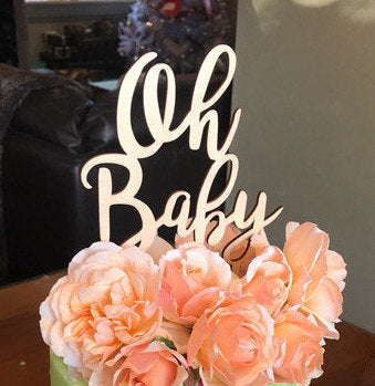 Oh Baby Wood Cake topper