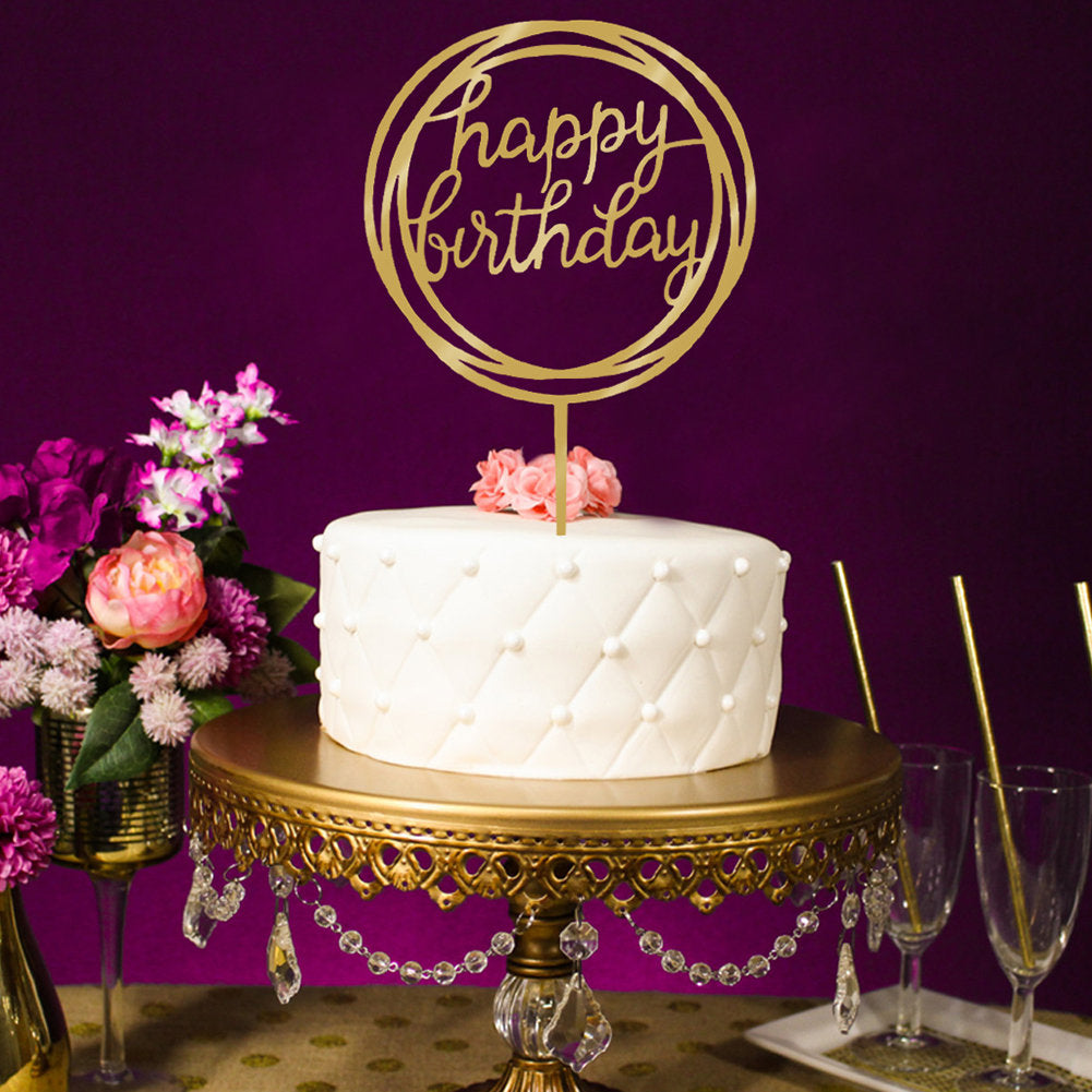 Gold Mirror Happy Birthday Cake Topper