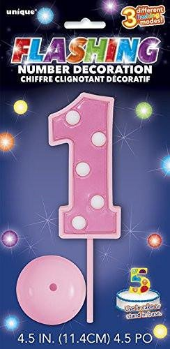 1st Birthday Light Up Pink Cake topper