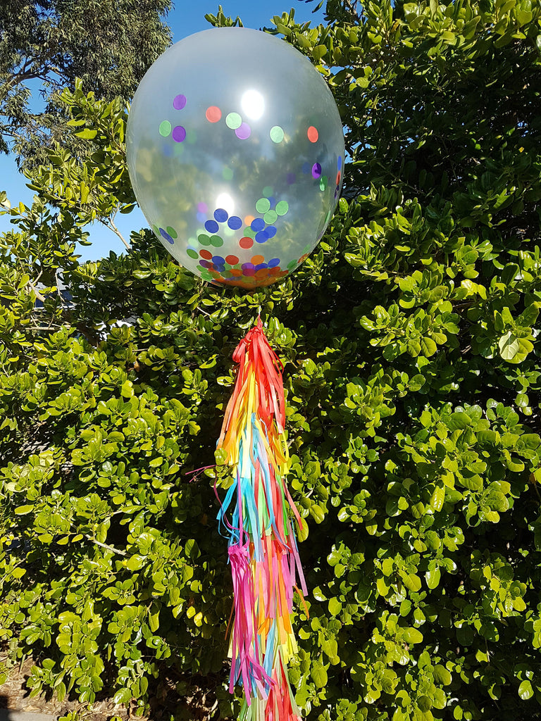 Giant Rainbow Confetti balloon and Tassels kit