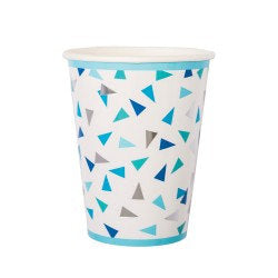 Hipp Blue and Silver Geometric Paper Cups