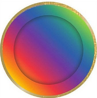 Bright Rainbow Plates with Gold Rim
