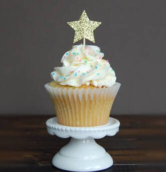Glitter star cake topper in Silver and Gold