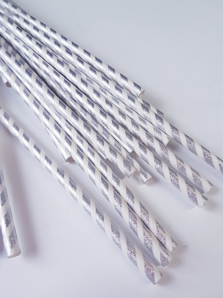 Silver and White Metallic Striped Straws