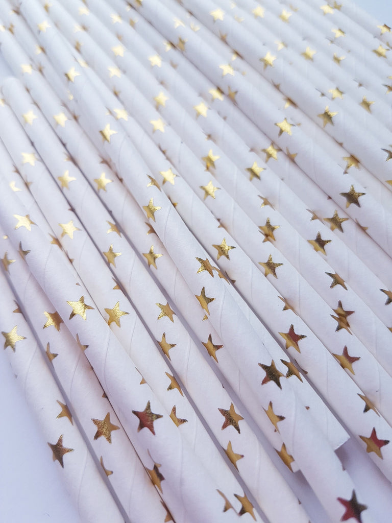 Gold and White Star Straws