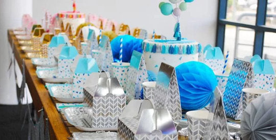 Blue and silver treat boxes