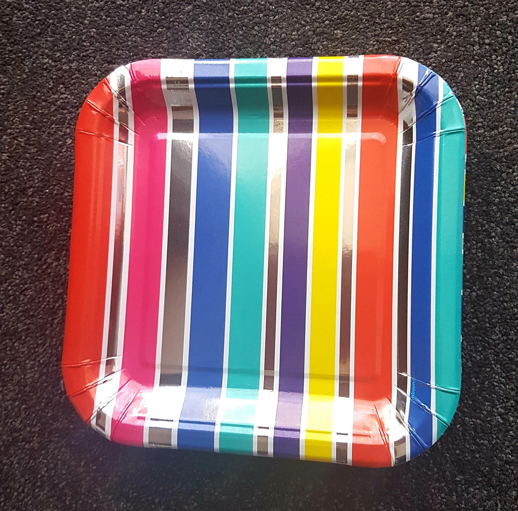 Metallic Rainbow and Silver Stripe Foil Plates
