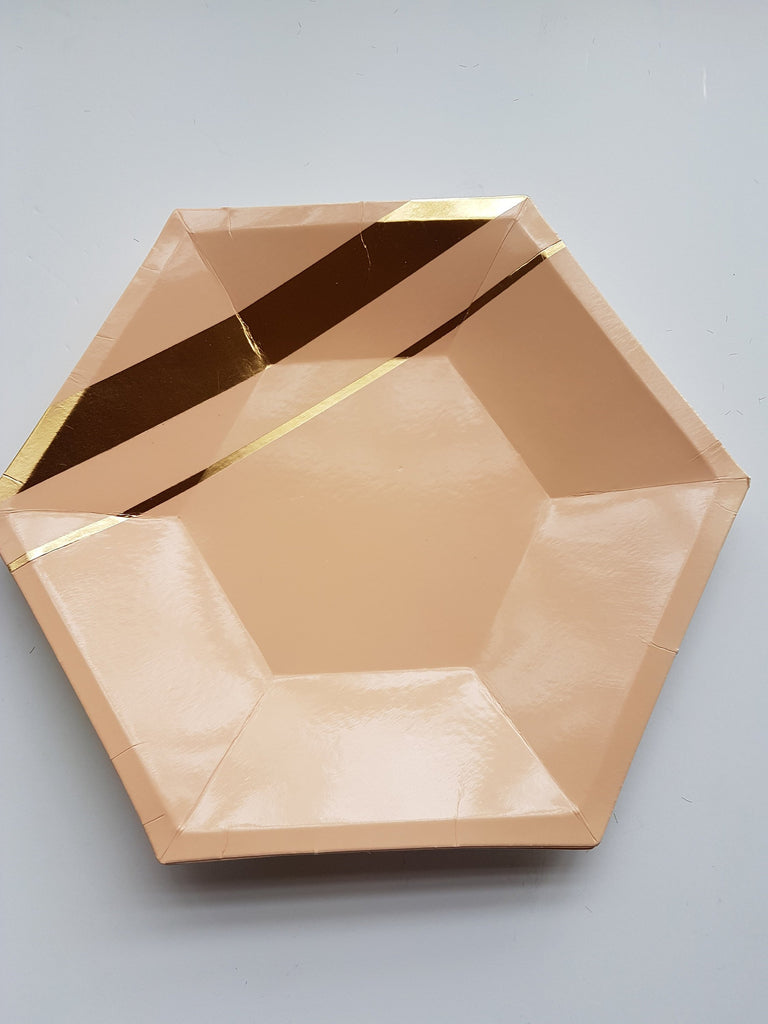 Pastel and gold hexagonal plates
