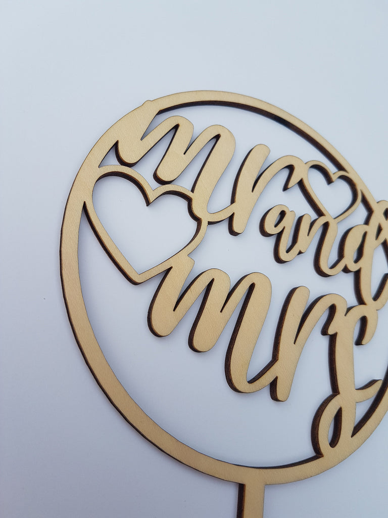 Mr and Mrs Wood Cake topper