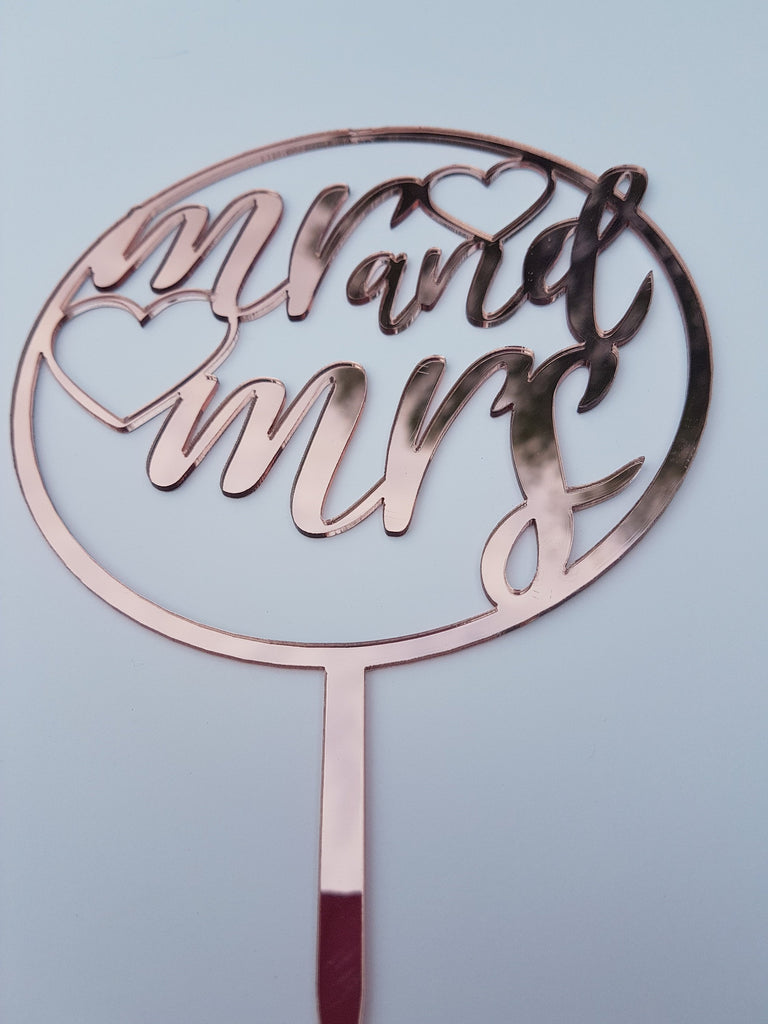 Mr and Mrs Rose Gold Cake topper