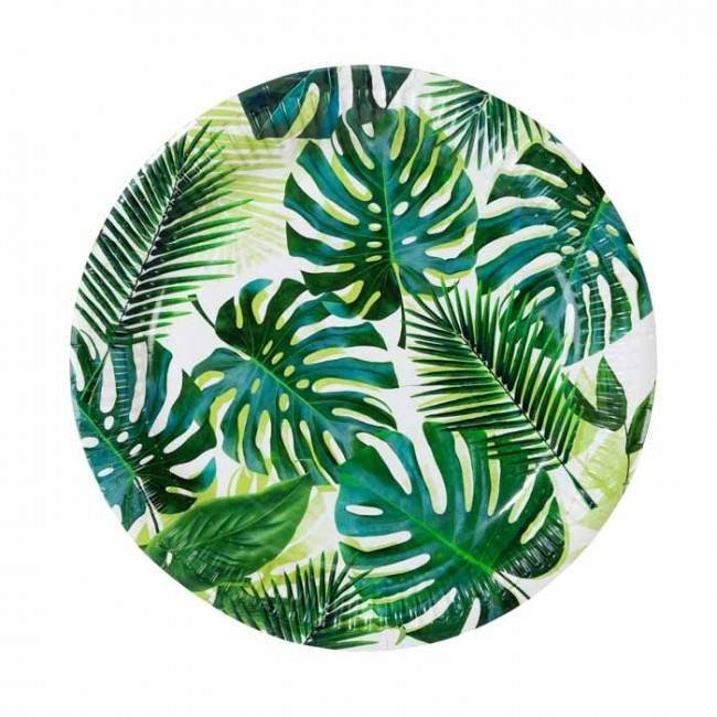 Talking Tables Green Palm leaf Print Plates