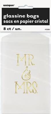 Mr and Mrs White and Gold Cake Bags