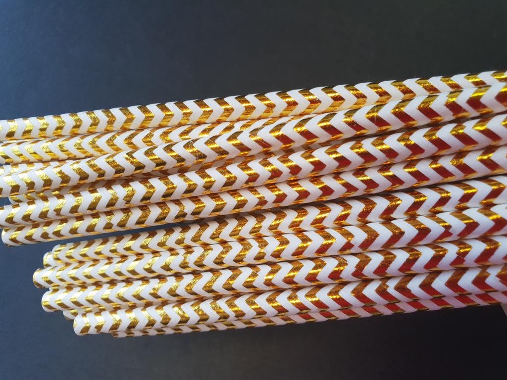 Gold Metallic Chevron Straws