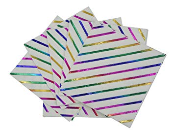 Iridescent Rainbow Foil Stripe Napkins